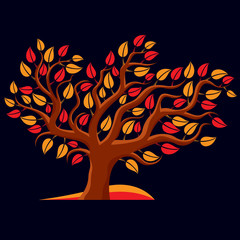 Art illustration of autumn branchy tree, stylized ecology symbol