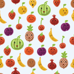 Seamless fruit kitchenpattern background in vector