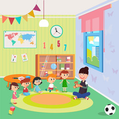 Kindergarden Interior. Girls and Boys Sitting Around the Teacher. Vector illustration