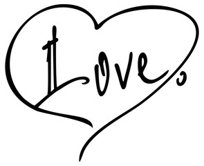 Simple word 'love' with a heart for the letter. Original custom hand lettering. Design element for greeting cards , invitations , prints.