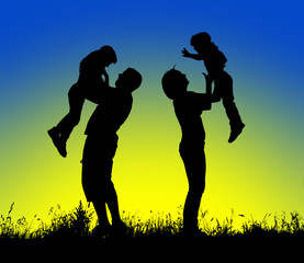 Silhouette of parents and children having fun spending time