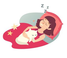 Sleeping girl with cat. Cartoon happy woman. Sweet dreams. Sleeping girl icon. Sleep at home, sleeping cat. Vector illustration on white background. Flat sticker