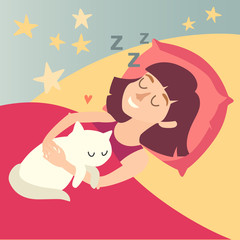 Sleeping girl with cat. Cartoon happy woman.  Sweet dreams. Vector illustration