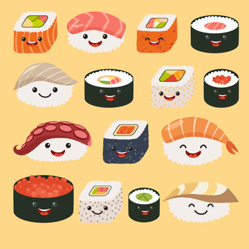 Funny sushi characters. Funny sushi with cute faces. Sushi roll and sashimi set. Happy sushi characters. Sushi roll funny set. Asian food, vector illustration isolated on white background