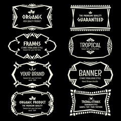 Doodle vector Ethnic Tribal  style frame collection in monochrom