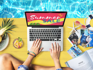 Summer Sale Laptop Relax Holiday Shopping Concept