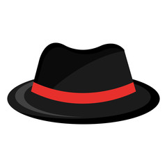 black vintage hat with red  loop front view over isolated background, fashion concept, vector illustration