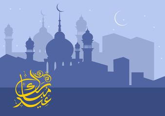Eid Mubarak Night | Editable Eid Mubarak night scene vector illustration with mosque silhouette, can be used as background.