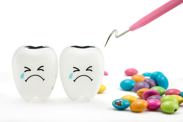 Teeth crying emotion with dental plaque cleaning tool