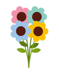 flowers bouquet isolated icon design