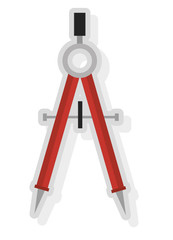 grey and red school compass front view over isolated background, vector illustration
