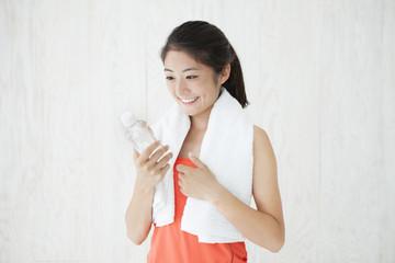 Refreshing sport women with water
