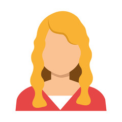 Elegant woman with nice hair and red blouse, vector illustration.