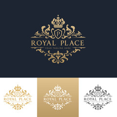 Royal Place luxury elegant logo design for hotel and fashion brand identity