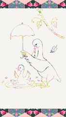 Mother-goose holds an umbrella over her son who bathes. Colorful ornamental lines. Patchwork frame. Vector illustration.