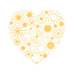 Yellow sun icons made shape if heart. Abstract mandala sunny cute design.