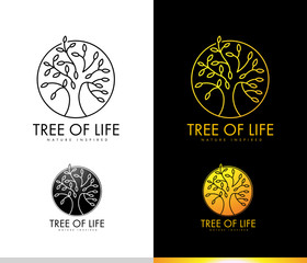 Tree Logo Concept with Monogram Outlines Leaves Shape. Tree Icon, Leaves Logo,  Spiritual Logo.