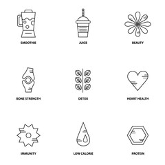 Juice therapy vector icon set