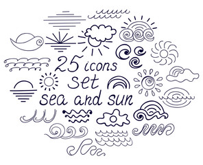 Set of twenty five icons of the sun and the sea