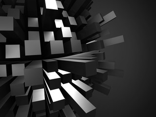 Abstract Futuristic Dark Shiny Sphere Blocks Background