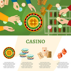 Casino infographics people play roulette playing cards baccarat