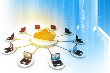 3d illustration of cloud computing concept, abstract technology background.