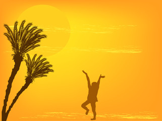 girl and palm trees at yellow sunset