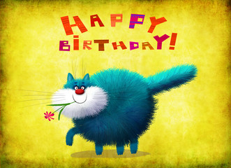 Birthday Card Cat Walking With Flower In Mouth