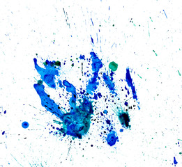 Paint watercolour splatter blue. Watercolors spot blotch isolated