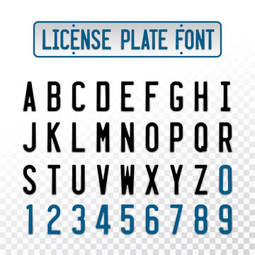 License plate font letters with embosse transparent overlay effect