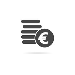 Euro coins flat icon