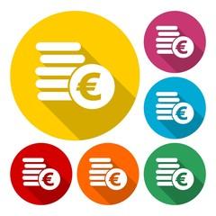 Euro coins flat icons set