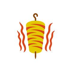 Kebab logo. Doner kebab national turkish meat food meal. Meat with warm fire waves.