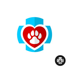 Pet paw love symbol with medical cross. Vet clinic logo. Home pe