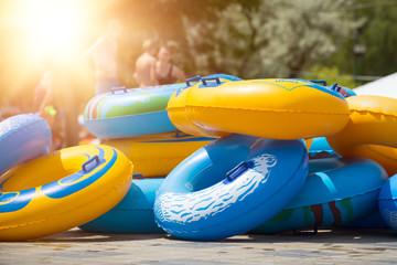 Inflatable boats and circles, aqua park