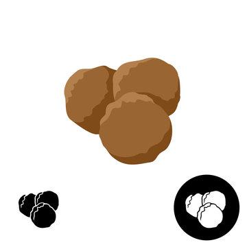 Meatballs icon. Illustration of three round meatballs.