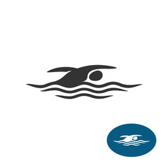 Swimming man black silhouette logo. Water waves with sportsman black figure.