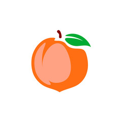 Peach vector illustration. Color cartoon style isolated on a white background.
