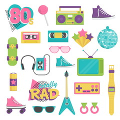 Collection of vintage retro 1980s style items that symbolize the 80s decade fashion accessories, style attributes, leisure items and innovations.