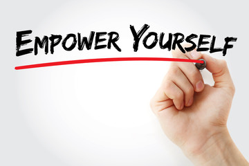Hand writing Empower Yourself with marker, concept background