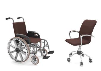 Rollstuhl und Drehstuhl