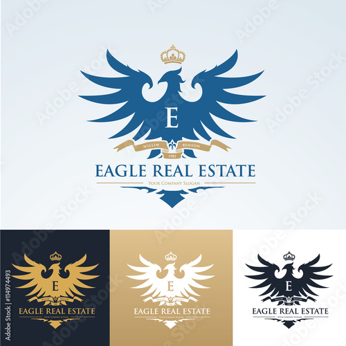 Eagle Logo Brand Identity With Eagle Crest And Crown Symbol Luxury