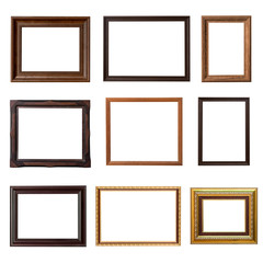 Wood frame photo set on isolated white background
