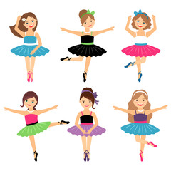 Little ballerinas on white. Vector ballet girls set