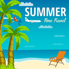 Summer Time in Beach Sea Shore. Time travel. Lounge chair. Vector Illustration.