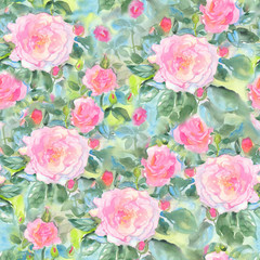 Abstract watercolor summer roses flowers. Seamless pattern. Bright colors. Hand painted. The unusual shape.