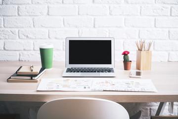 Desktop with laptop