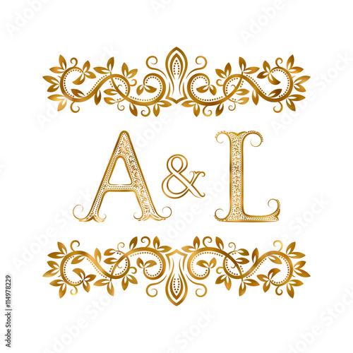 Al Vintage Initials Logo Symbol Letters A L Ampersand Surrounded Fl Ornament
