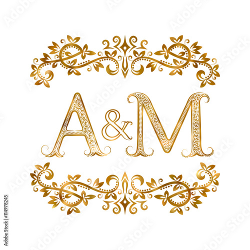 am vintage initials logo symbol letters a m ampersand surrounded floral ornament