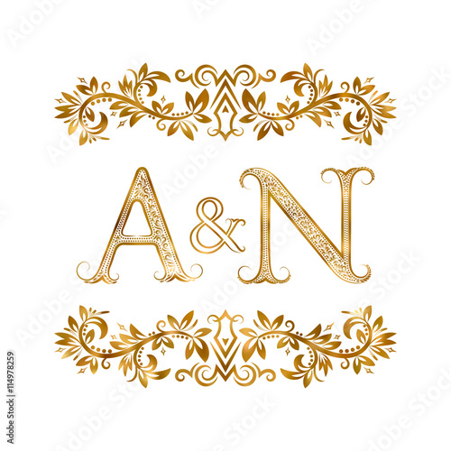 A N Vintage Initials Logo Symbol Letters A N Ampersand Surrounded Floral Ornament Wedding